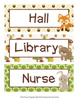 Woodland Forest Animal Theme Hall Passes - Fox included