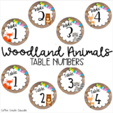 Woodland Animal Theme Table Numbers