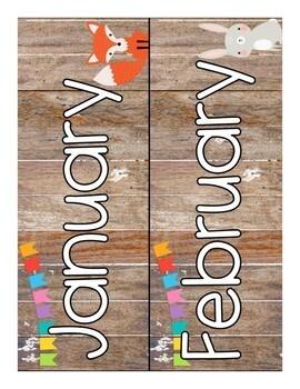 Woodland Animal Themed Calendar Set