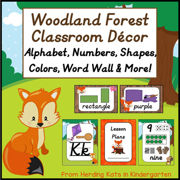 Woodland Animal Themed Classroom Poster Decor Bundle with Dnealian Font