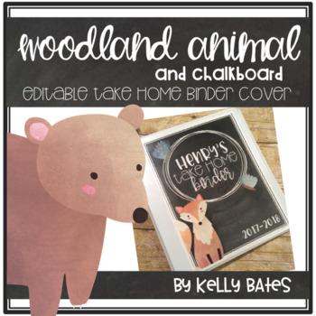 Woodland Animal and Chalkboard Take Home Binder Covers (EDITABLE)