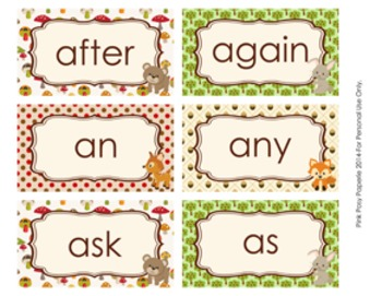 Woodland Forest Animals 1st Grade Dolch Sight Wall Words