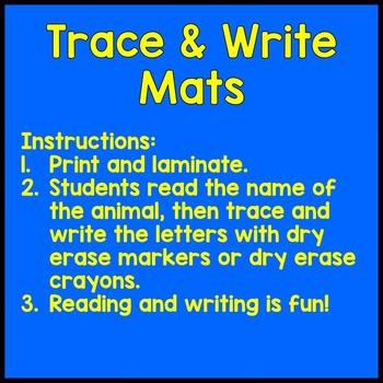 Woodland Animal Trace and Write Handwriting Mat Literacy Center