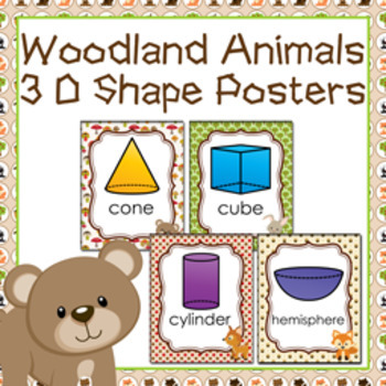 Woodland Animals 3D Shape Posters
