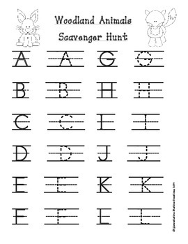 Woodland Animals Alphabet Scavenger Hunt: Upper and Lowercase Letters