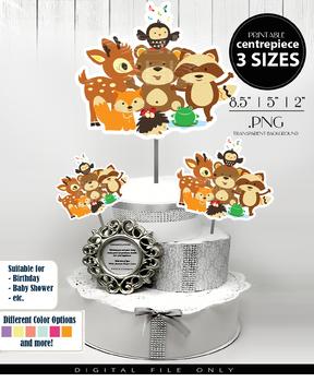 Woodland Animals Babyboy Centerpiece, Cake Topper, Clip Art Decoration - 3 SIZES