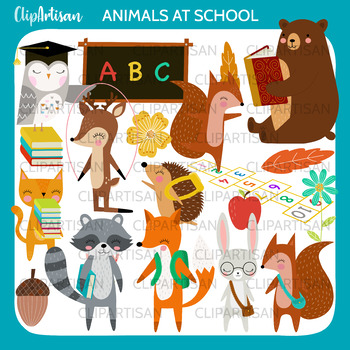 Woodland Animals Back to School Clip Art, Forest School