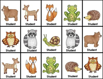 Woodland Animals Behavior Clip Chart