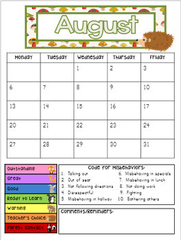 Woodland Animals Behavior Clip Chart and Monthly Calendar UPDATED for 2017-2018