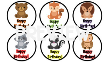 "Woodland Animals Birthday ""Crazy Straw"" Tags"