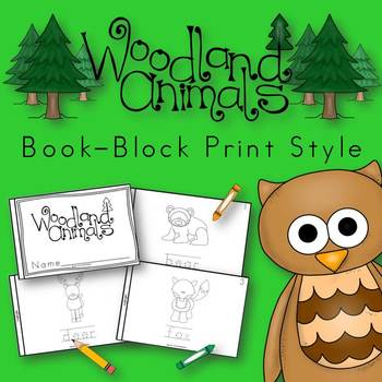 Woodland Animals Book for Kindergarten and 1st Grade {Block Print Style}