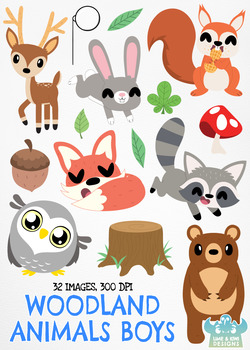 Woodland Animals Boys Clipart, Instant Download Vector Art, Commercial Use