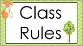 Woodland Animals Class Rules