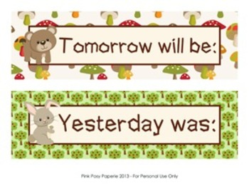 Woodland Forest Animals Classroom Decor Days of the Week Calendar Headers