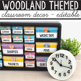 Camping Classroom Decor Editable, Woodland Animals Classroom Theme