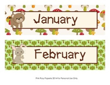 Woodland Forest Animals Classroom Decor Monthly Calendar