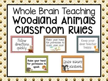 Woodland Animals Classroom Rules Freebie (Whole Brain Teaching)