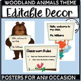 Woodland Animals Classroom Theme Editable Signs