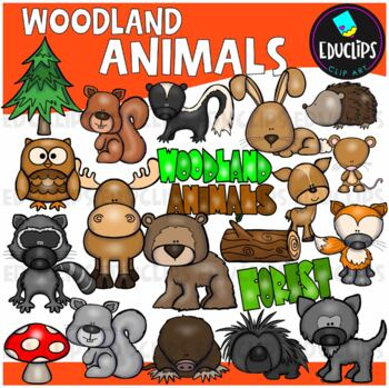 Woodland Animals Clip Art Bundle {Educlips Clipart}