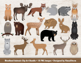 Woodland Animals Clip Art Bundle, 18 Hand Drawn Forrest An