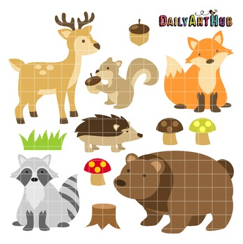 Woodland Animals Clip Art - Great for Art Class Projects!