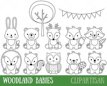 Woodland Animals Clip Art, Baby Animals Coloring Activity