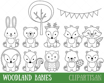 woodland animals clip art baby animals coloring activity by clipartisan. Black Bedroom Furniture Sets. Home Design Ideas