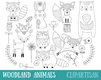 Woodland Animals Clip Art, Forest Animals Coloring Activity