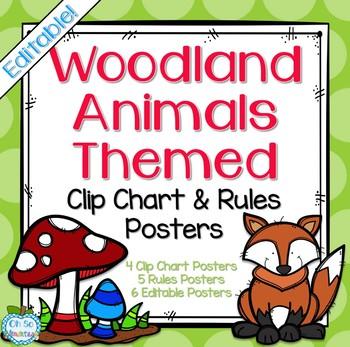 Behavior Clip Chart & Class Rules (Woodland Animals)