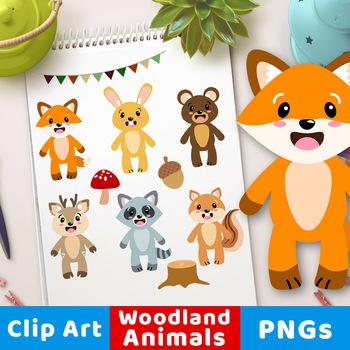 Woodland Animals Clipart, Forest Animals Clipart, Cute Fox, Bear, Deer