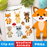 Woodland Animals Clipart, Forest Animals Clipart, Cute Fox