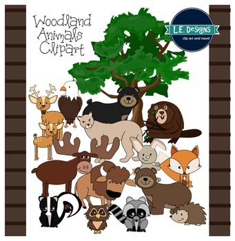 Woodland Animals Clipart {L.E. Designs}