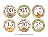 Woodland Forest Animals Clock Number Labels