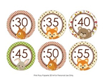 Woodland Forest Animals Clock Number Labels