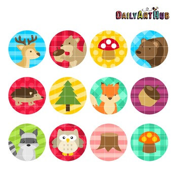 Woodland Animals Collage Art Clip Art - Great for Art Clas