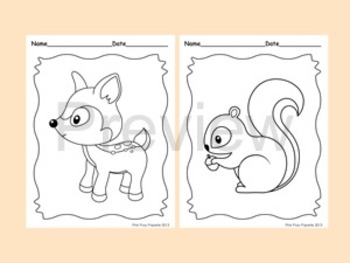 Woodland Forest Animals Coloring Pages - 8 Designs - Fox Included