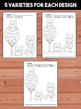 Woodland Animals Coloring and Writing Pages