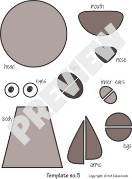 Woodland Animals Craft Bear - Template Cut and Paste