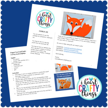 Woodland Animals Craft Fox -Cut and Paste Template -Fox Craft