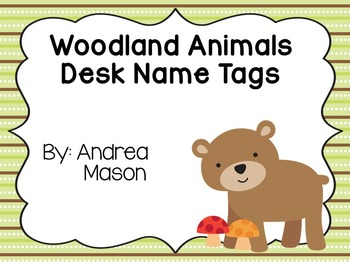Woodland Animals Theme Desk Name Tags