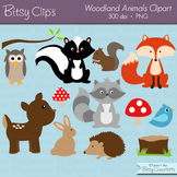 Woodland Animals Clipart Commercial Use WITH Black and Whi