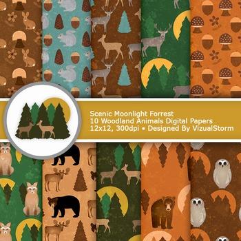 Woodland Animals Digital Paper - 10 Forrest Creature Patterns