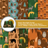 Woodland Animals Digital Paper - 10 Forrest Creature Patterns