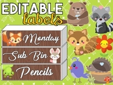 Woodland Animals Editable Labels | Name Tags | Mailbox | Sterilite Drawer