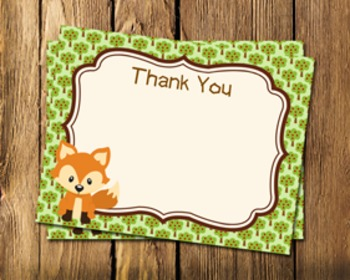 Woodland Forest Animals Flat Thank You Note Cards