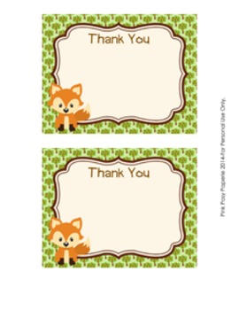 Woodland Forest Animals Fox Flat Thank You Note Cards