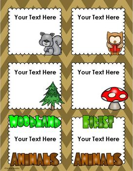 Woodland Animals Forest Camping Theme Classroom Labels Decorations Editable