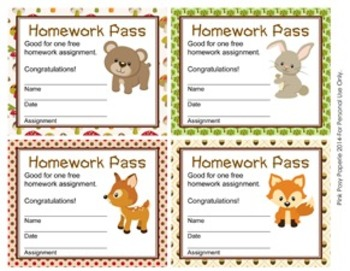 Woodland Forest Animals Homework Passes