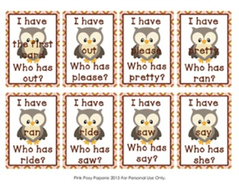 Woodland Forest Animals I Have Who Has Dolch Primer Sight Word Game