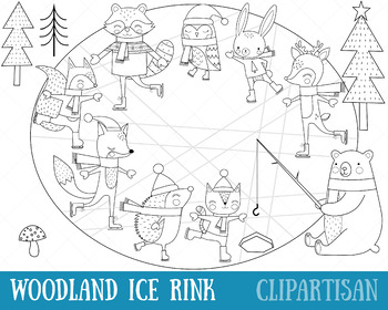 Woodland Animals Ice Rink Clip Art and Coloring Activity   Fox   Bear   Raccoon